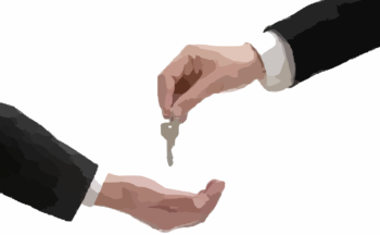 hand giving another hand a key, short sale