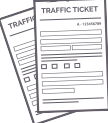 gray icon of traffic ticket paper