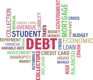 word cloud with debt in center