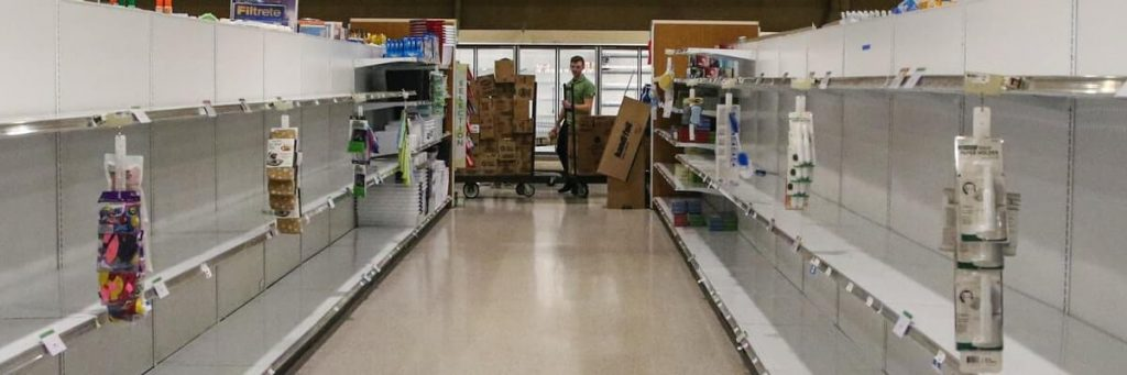 empty grocery store during panic shopping